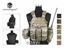 Emerson LBT6094A Style Plate Carrier Vest with 3 Pouch Tactical Airsoft Vest