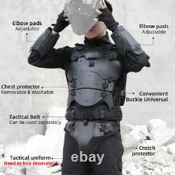 IDOGEAR Tactical Vest MOLLE Protective Armor Suit with Elbow Pads Buckle Belt Gear