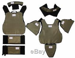 New Black Full Body Armor Plate Carrier MOLLE Tactical Vest 3A Kevlarr included