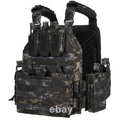 Tactical Vest Military Molle 10x12in Plate Carrier Combat Padded Body Gear Armor