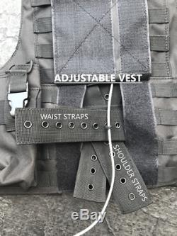 Tactical Vest Plate carrier- Black with 2 Curved 8x10 Plates & Pouches Included