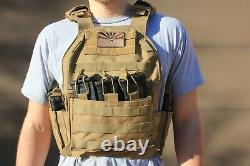 Tactical Vest -Tac Plate Carrier Black with 7 Mag Pouches Military Adjustable