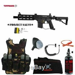 Tippmann US Army Project Salvo LT HPA Tactical Vest Paintball Gun Package